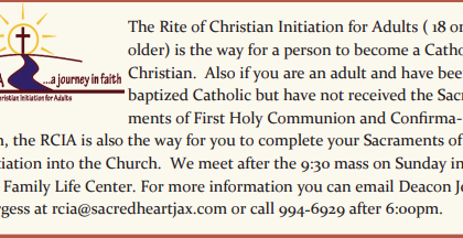 Rite of Christian Initiation for Adults (18 years and older)